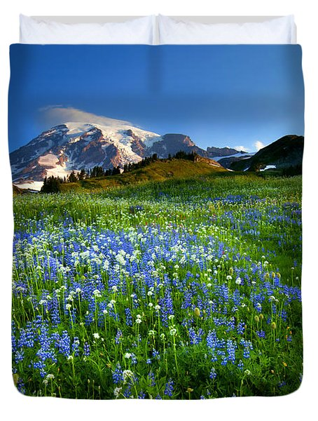 Fields Of Paradise Duvet Cover by Mike  Dawson