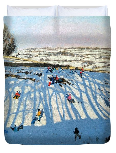 Fields Of Shadows Duvet Cover by Andrew Macara