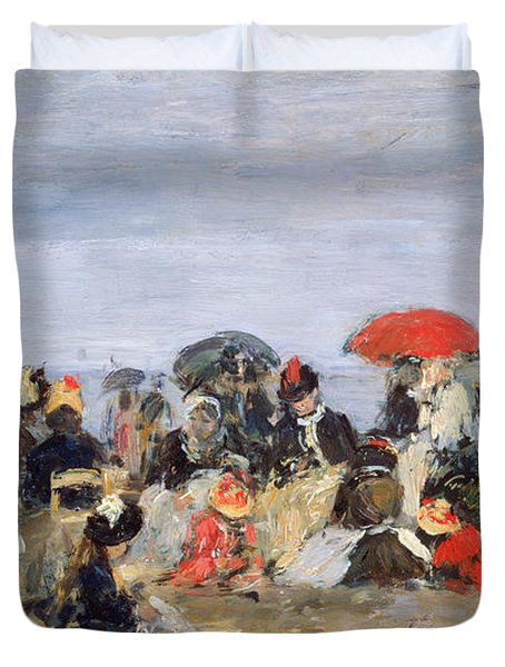 Figures On A Beach Duvet Cover by Eugene Louis Boudin