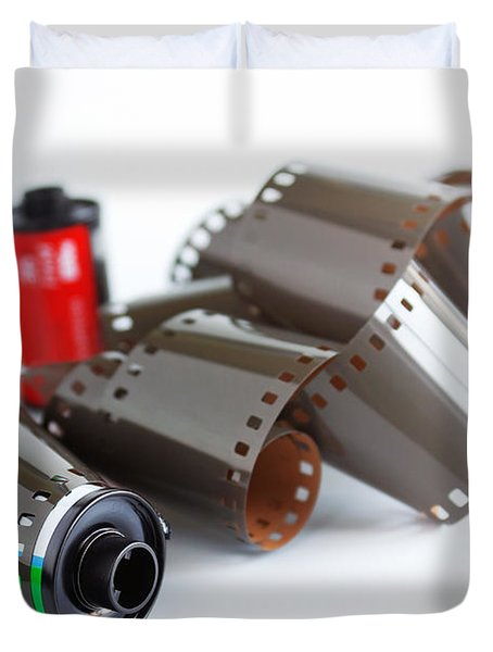 Film and Canisters Duvet Cover by Carlos Caetano