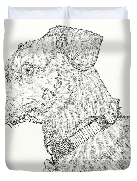 Finn In Black And White Duvet Cover by Salvadore Delvisco