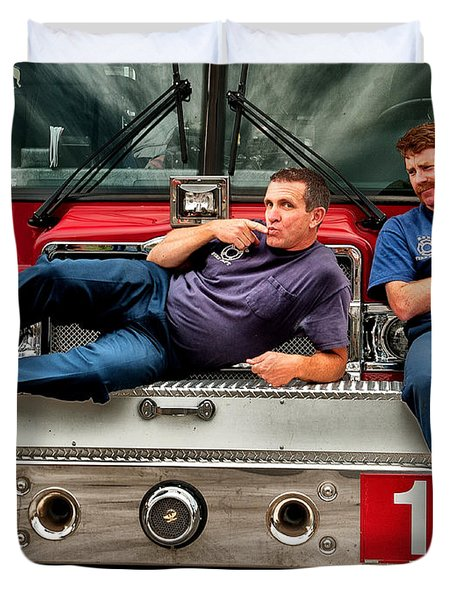 Fire engine one Duvet Cover by Vincent Cascio