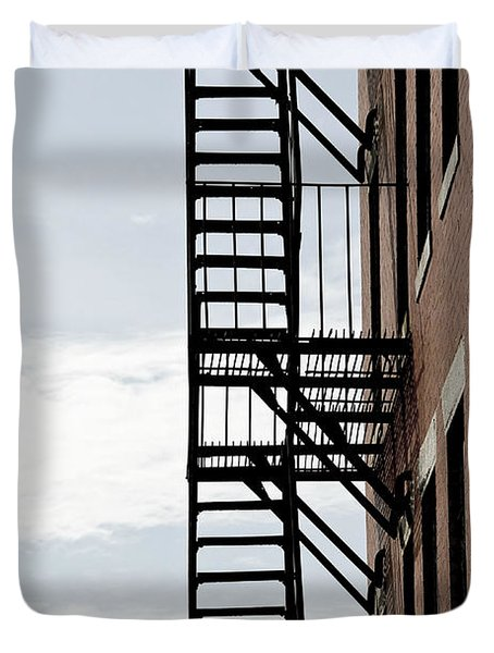 Fire escape in Boston Duvet Cover by Elena Elisseeva