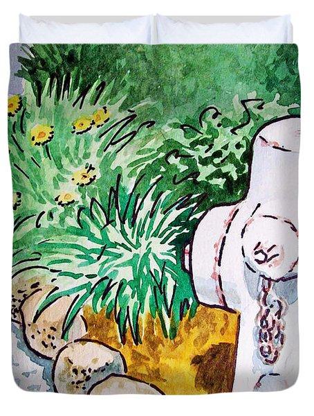 Fire Hydrant Sketchbook Project Down My Street Duvet Cover by Irina Sztukowski