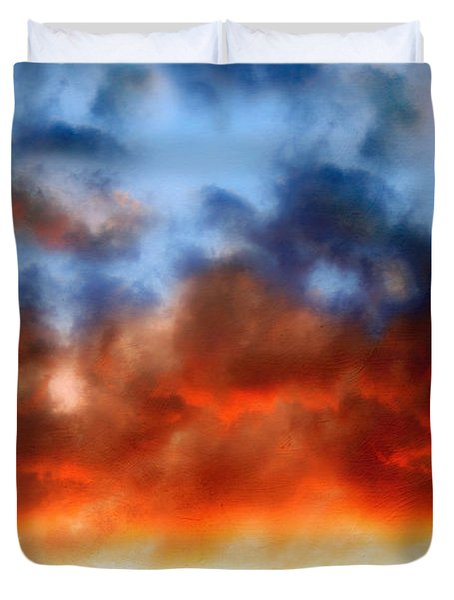 Fire In The Sky Duvet Cover by Andee Design