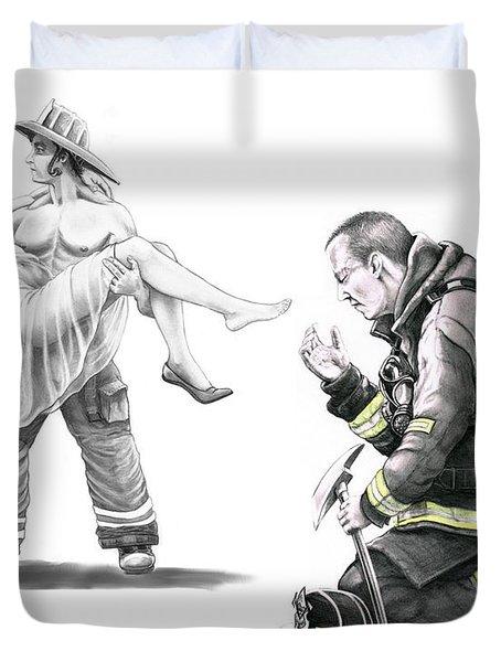 Fire Rescue Duvet Cover by Murphy Elliott