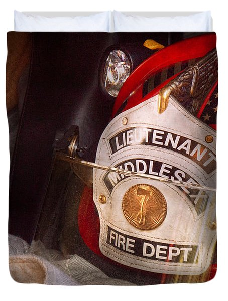 Fireman - Hat - The Lieutenants Cap  Duvet Cover by Mike Savad