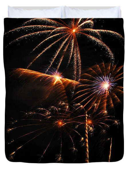 Fireworks 1580 Duvet Cover by Michael Peychich