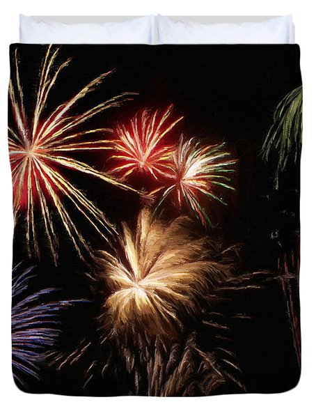 Fireworks Duvet Cover by Jeff Kolker