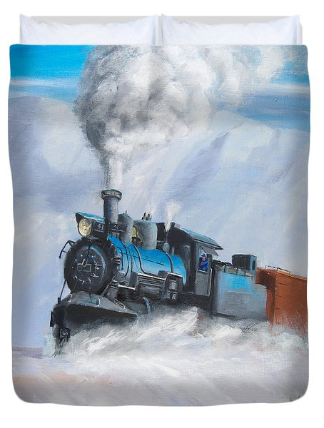 First Train Through Duvet Cover by Christopher Jenkins