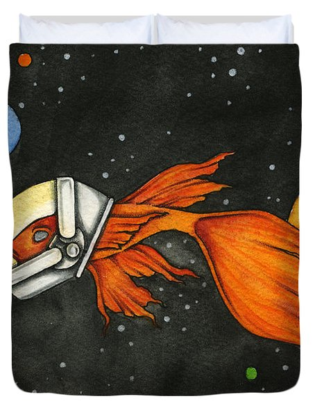 Fish In Space Duvet Cover by Nora Blansett