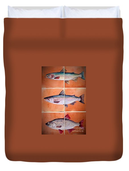 Fish Mural On Terracotta Tiles Duvet Cover by Andrew Drozdowicz