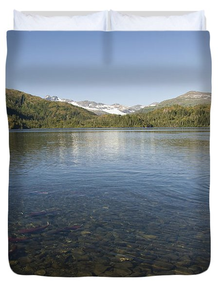 Fishing At Shrode Lake Duvet Cover by Gloria & Richard Maschmeyer