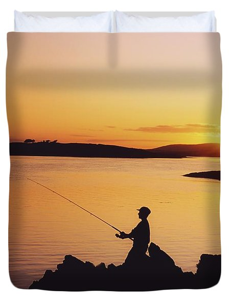 Fishing At Sunset, Roaring Water Bay Duvet Cover by The Irish Image Collection