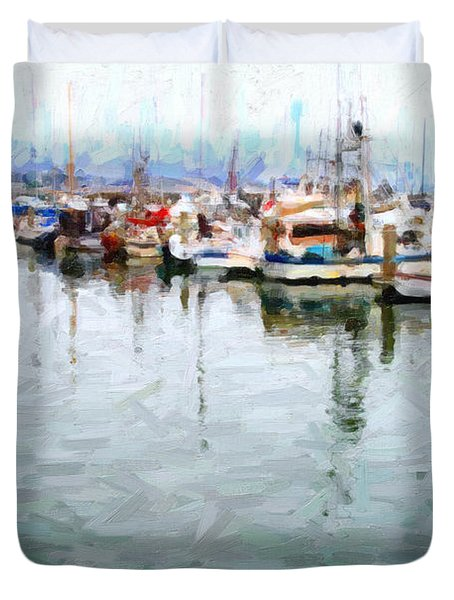 Fishing Boats At The Dock . 7d8187 Duvet Cover by Wingsdomain Art and Photography