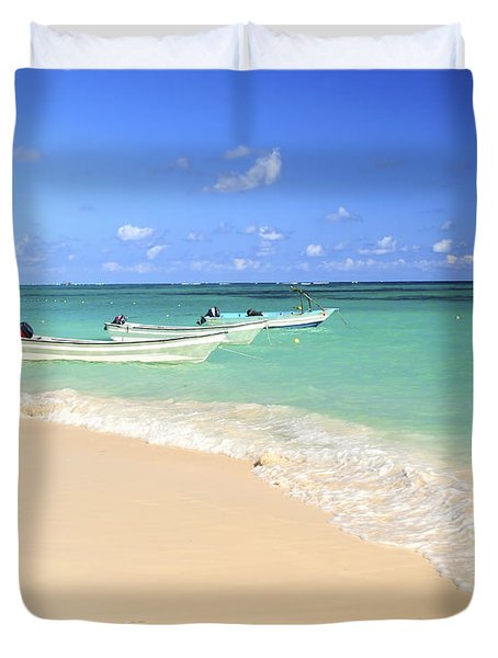 Fishing Boats In Caribbean Sea Duvet Cover by Elena Elisseeva
