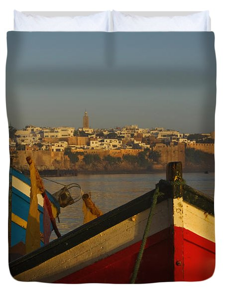 Fishing Boats In Front Of Kasbah Des Duvet Cover by Axiom Photographic