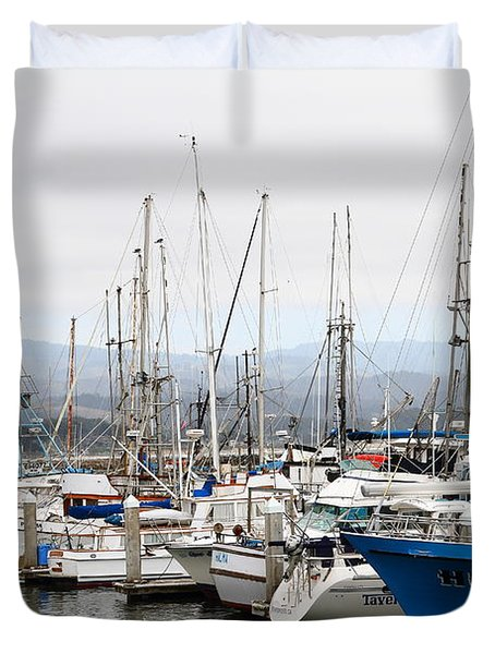 Fishing Boats In Pillar Point Harbor At Half Moon Bay California . 7d8208 Duvet Cover by Wingsdomain Art and Photography