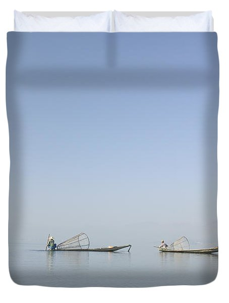 Fishing Boats, Inle Lake, Myanmar Burma Duvet Cover by Huy Lam