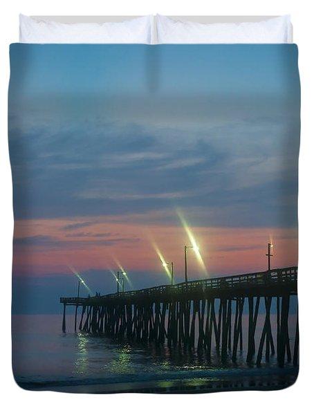 Fishing Pier Sunrise Duvet Cover by John Greim
