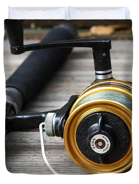 Fishing Rod and Reel . 7D13547 Duvet Cover by Wingsdomain Art and Photography
