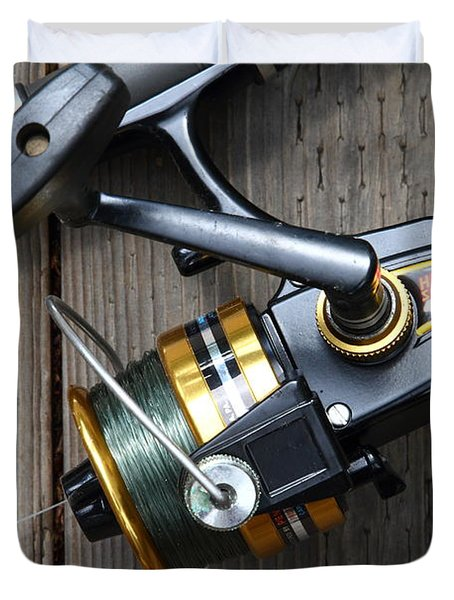 Fishing Rod and Reel . 7D13565 Duvet Cover by Wingsdomain Art and Photography