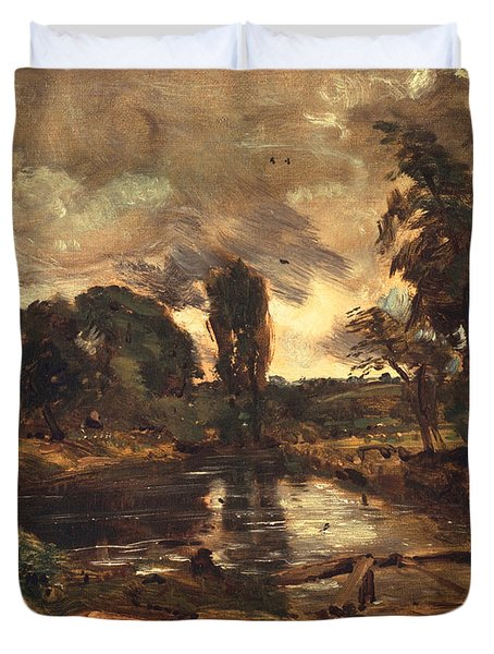 Flatford Mill From The Lock Duvet Cover by John Constable
