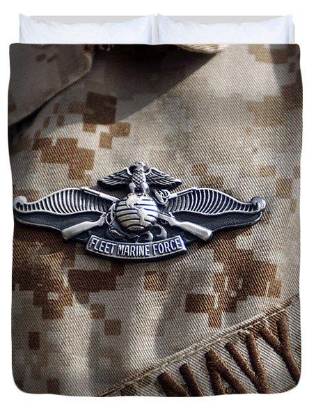 Fleet Marine Force Warfare Device Pin Duvet Cover by Stocktrek Images
