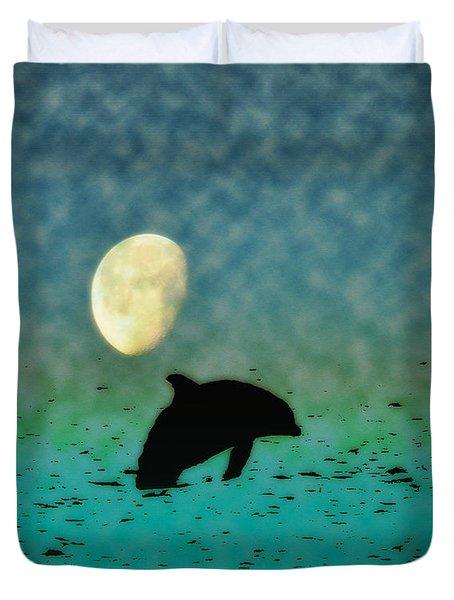 Flippers Moonlight Swim Duvet Cover by Bill Cannon