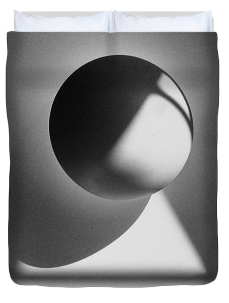 Floating Sphere On Light Triangle- Black And White Silver Gelati Duvet Cover by Adam Long