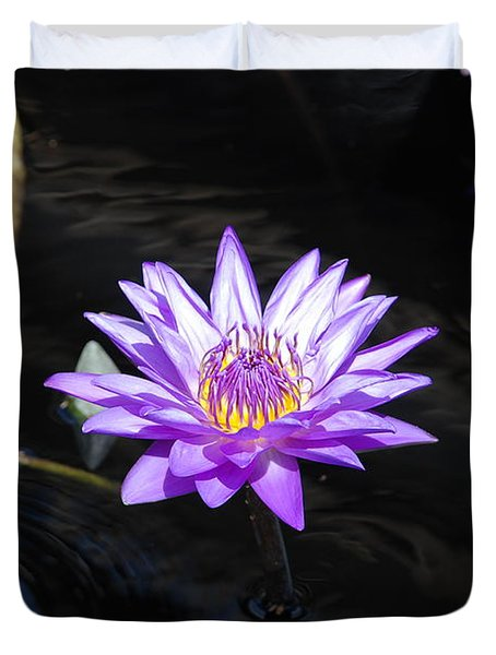 Floral Burst Of Purple Duvet Cover by Jennifer Ancker