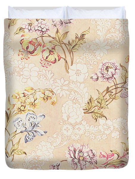 Floral design with peonies lilies and roses Duvet Cover by Anna Maria Garthwaite