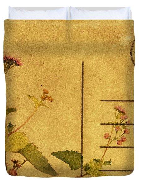 Floral Pattern On Postcard Duvet Cover by Setsiri Silapasuwanchai