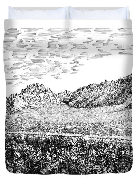 Florida Mountains And Poppies Duvet Cover by Jack Pumphrey
