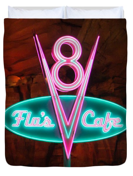 Flo's V8 Cafe - Cars Land - Disneyland Duvet Cover by Heidi Smith
