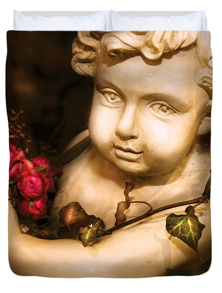 Flower - Rose - The Cherub  Duvet Cover by Mike Savad