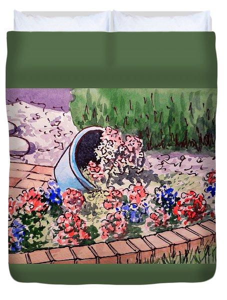 Flower Bed Sketchbook Project Down My Street Duvet Cover by Irina Sztukowski