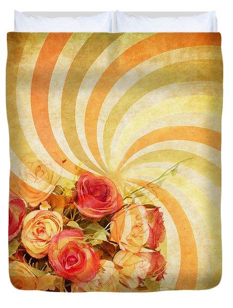 flower pattern retro style Duvet Cover by Setsiri Silapasuwanchai