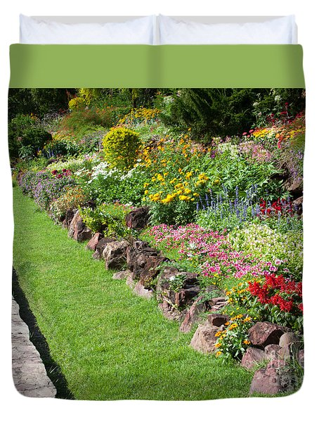 Flowers In Park Duvet Cover by Atiketta Sangasaeng