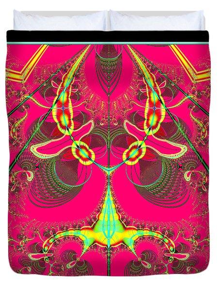 Fluorescent Alien Lady Bug Fractal 70 Duvet Cover by Rose Santuci-Sofranko