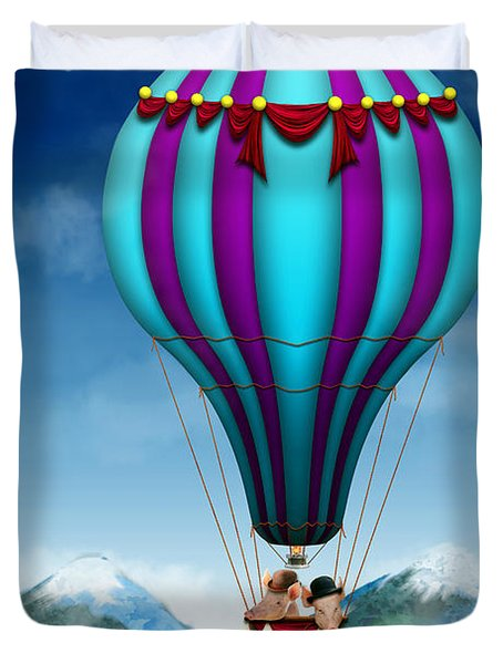 Flying Pig - Balloon - Up Up And Away Duvet Cover by Mike Savad