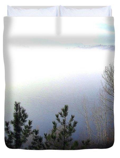 Fog On Wood Lake Duvet Cover by Will Borden