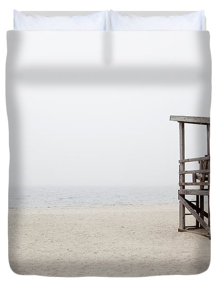 Foggy New England Beach Duvet Cover by Jenna Szerlag
