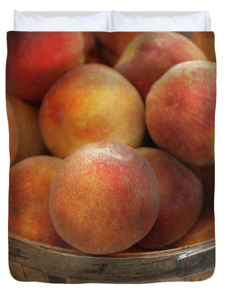 Food - Peaches - Just Peachy Duvet Cover by Mike Savad