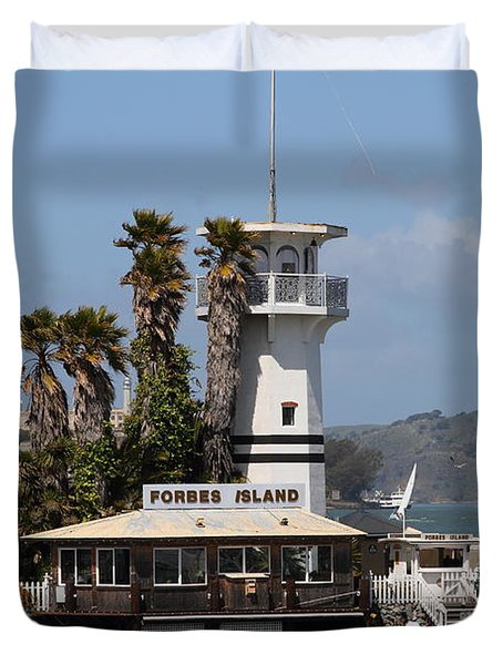 Forbes Island Restaurant With Alcatraz Island In The Background . San Francisco California . 7d14258 Duvet Cover by Wingsdomain Art and Photography