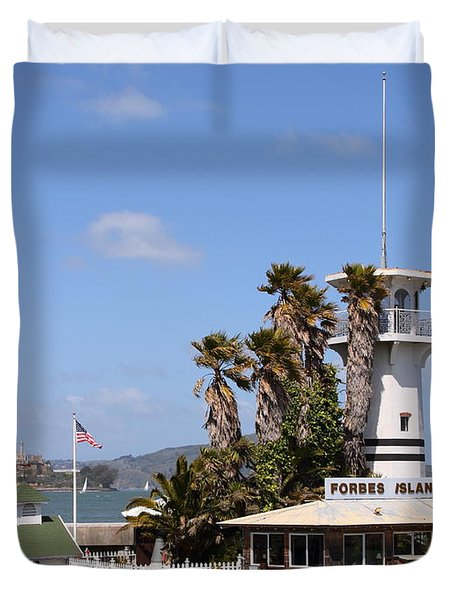 Forbes Island Restaurant With Alcatraz Island in The Background . San Francisco California . 7D14263 Duvet Cover by Wingsdomain Art and Photography