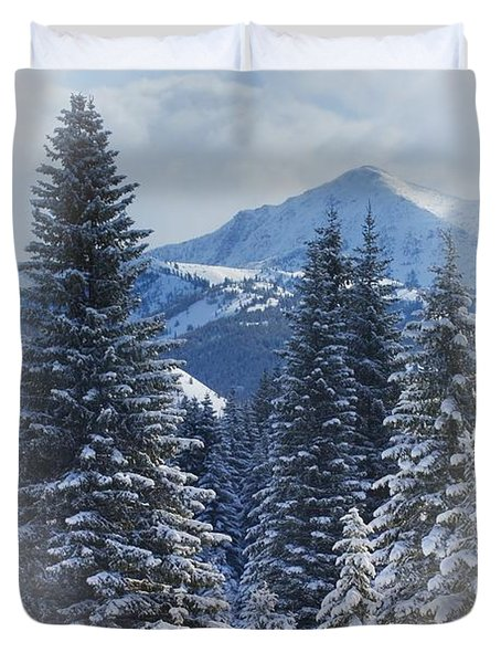 Forest In The Winter Duvet Cover by Carson Ganci