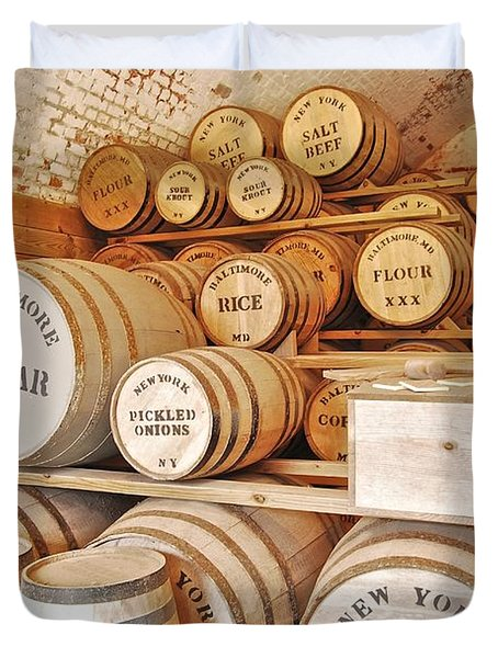 Fort Macon Food Supplies_9070_3759 Duvet Cover by Michael Peychich