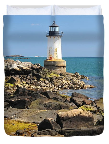 Fort Pickering Lighthouse Duvet Cover by Catherine Reusch  Daley