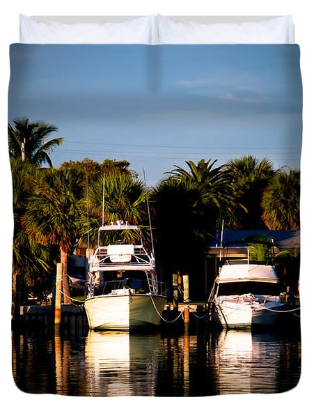 Fort Pierce Marina Duvet Cover by Trish Tritz